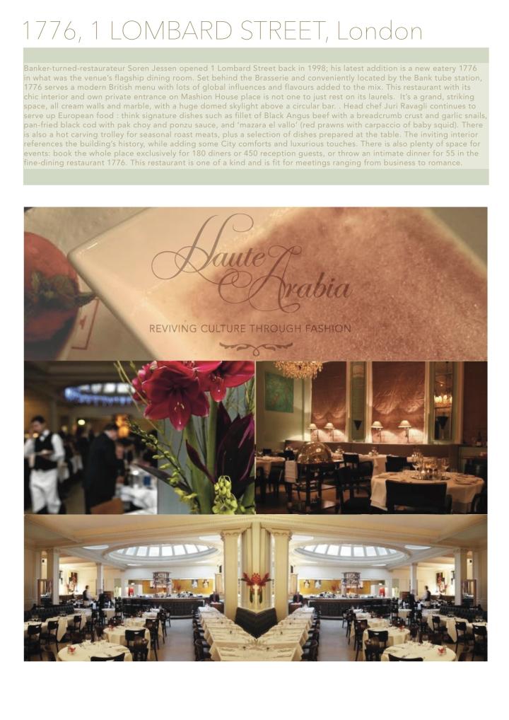 Top Restaurant Pick | 1776, 1 Lombard Street, London