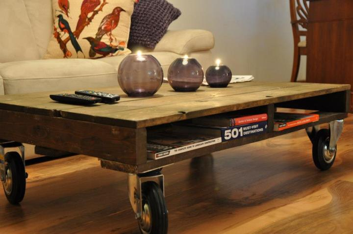 Wooden Coffee Table on Large Castor Wheels